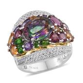 Northern Lights Mystic Topaz, Multi Gemstone 14K YG and Platinum Over Sterling Silver Ring (Size 8.0) TGW 12.03 cts.