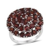 Mozambique Garnet Platinum Over Sterling Silver Ring (Size 7.0) TGW 9.510 cts.