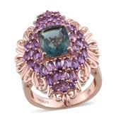 Blue Fluorite, Amethyst 14K RG Over Sterling Silver Elongated Ring (Size 8.0) TGW 7.77 cts.