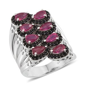 Niassa Ruby (FF), Thai Black Spinel Platinum Over Sterling Silver Elongated Open Band Ring (Size 6.0) TGW 3.70 cts.