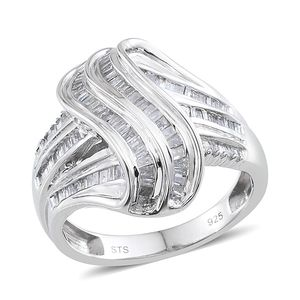 Diamond Platinum Over Sterling Silver Ring (Size 7.0) TDiaWt 0.97 cts, TGW 0.970 cts.