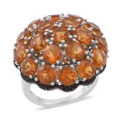 Santa Ana Madeira Citrine, Thai Black Spinel Sterling Silver Ring (Size 7.0) TGW 9.900 cts.