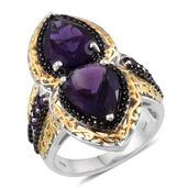 Amethyst, Thai Black Spinel 14K YG and Platinum Over Sterling Silver Openwork Elongated Ring (Size 6.0) TGW 9.470 cts.