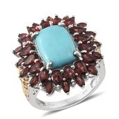 Sonoran Blue Turquoise, Mozambique Garnet 14K YG and Platinum Over Sterling Silver Ring (Size 10.0) TGW 11.630 cts.