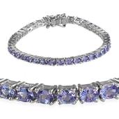 Tanzanite, Pink Sapphire Platinum Over Sterling Silver Bracelet (6.50 In) TGW 6.450 cts.