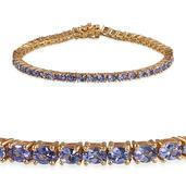 Tanzanite, Pink Sapphire 14K YG Over Sterling Silver Bracelet (8.00 In) TGW 7.850 cts.