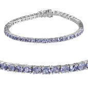 Tanzanite, Madagascar Pink Sapphire Platinum Over Sterling Silver Bracelet (7.50 In) TGW 7.850 cts.