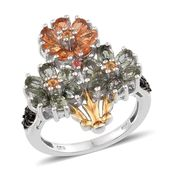 Multi Gemstone 14K YG and Platinum Over Sterling Silver Ring (Size 5.0) TGW 4.893 cts.