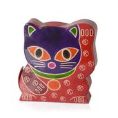 Handcrafted Genuine Leather Cat Money Bank with Button Opening