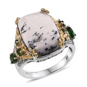 Dendritic Agate, Russian Diopside, White Topaz 14K YG and Platinum Over Sterling Silver Ring (Size 5.0) TGW 11.020 cts.