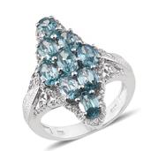 Cambodian Blue Zircon, White Zircon Platinum Over Sterling Silver Ring (Size 10.0) TGW 7.37 cts.