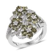 Bohemian Moldavite, White Topaz Platinum Over Sterling Silver Floral Cluster Ring (Size 7.0) TGW 2.68 cts.