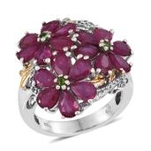 Niassa Ruby, Russian Diopside, White Topaz 14K YG and Platinum Over Sterling Silver Floral Ring (Size 7.0) TGW 8.290 cts.