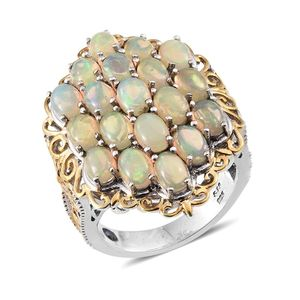 Ethiopian Welo Opal, Tanzanite 14K YG and Platinum Over Sterling Silver Ring (Size 7.0) TGW 5.950 cts.