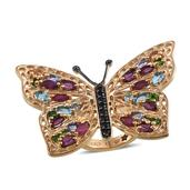 GP Multi Gemstone 14K YG Over Sterling Silver Butterfly Ring (Size 5.0) TGW 6.080 cts.
