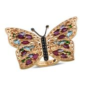 GP Multi Gemstone 14K YG Over Sterling Silver Butterfly Ring (Size 6.0) TGW 6.080 cts.