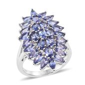Tanzanite, White Zircon Platinum Over Sterling Silver Elongated Cluster Split Ring (Size 7.0) TGW 7.85 cts.