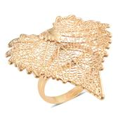 Nature's D'Or Cottonwood Leaf Dipped in 24K YG with 14K YG Over Sterling Silver Split Band Ring (Size 6.0)