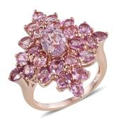 Kunzite, Madagascar Pink Sapphire 14K RG Over Sterling Silver Ring (Size 7.0) TGW 6.10 cts.