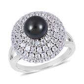 Pearl Expressions Tahitian Pearl, White Topaz Sterling Silver Ring (Size 9.0) TGW 3.250 cts.