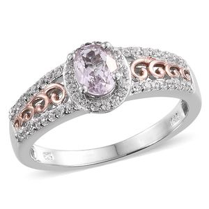Kunzite, White Zircon 14K RG and Platinum Over Sterling Silver Ring (Size 9.0) TGW 1.500 cts.