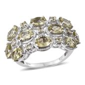 Canary Apatite Platinum Over Sterling Silver Ring (Size 6.0) TGW 5.40 cts.