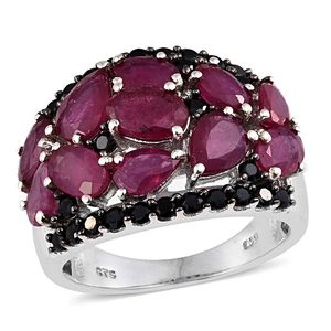 Niassa Ruby, Thai Black Spinel Platinum Over Sterling Silver Cluster Ring (Size 6.0) TGW 8.36 cts.