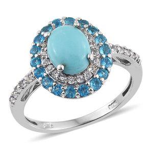Sonoran Blue Turquoise, Malgache Neon Apatite, White Topaz Platinum Over Sterling Silver Ring (Size 7.0) TGW 3.023 cts.