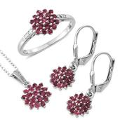 Mahenge Spinel, Diamond Accent Platinum Over Sterling Silver Earrings, Ring (Size 7) and Pendant With Chain (20 in) TDiaWt 0.02 cts, TGW 1.940 cts.