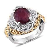 Niassa Ruby, White Topaz 14K YG and Platinum Over Sterling Silver Openwork Ring (Size 6.0) TGW 6.550 cts.