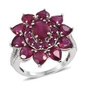 Niassa Ruby, Ruby, Diamond Platinum Over Sterling Silver Ring (Size 8.0) TDiaWt 0.02 cts, TGW 9.280 cts.