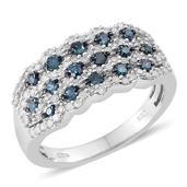 Blue Diamond (IR), Diamond Platinum Over Sterling Silver Ring (Size 7.0) TDiaWt 0.74 cts, TGW 0.740 cts.