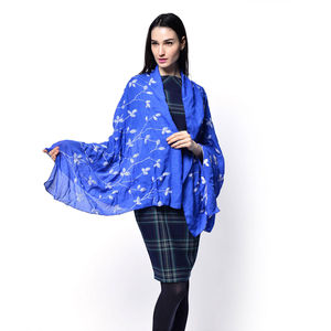 Blue 35% Cotton and 65% Polyester Scarf (36x71 in)