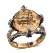 GP Brazilian Citrine, Multi Gemstone 14K YG Over Sterling Silver Ring (Size 8.0) TGW 11.310 cts.