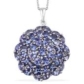 Tanzanite Platinum Over Sterling Silver Cluster Pendant With Chain (20 in) TGW 10.60 cts.
