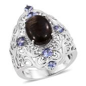 Black Feldspar, Tanzanite Platinum Over Sterling Silver Ring (Size 7.0) TGW 6.05 cts.