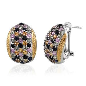 GP Multi Sapphire 14K YG and Platinum Over Sterling Silver Omega Clip Earrings TGW 3.840 cts.