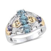 Cambodian Blue Zircon, Tanzanite 14K YG and Platinum Over Sterling Silver Ring (Size 6.0) TGW 2.450 cts.