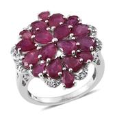 Niassa Ruby, White Topaz Platinum Over Sterling Silver Cluster Split Ring (Size 9.0) TGW 9.200 cts.