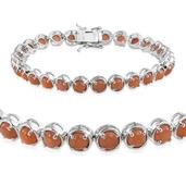 Peach Moonstone Platinum Over Sterling Silver Bracelet (7.75 In) TGW 17.700 cts.