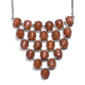 Peach Moonstone Platinum Over Sterling Silver Princess Necklace (18 in) TGW 49.56 Cts.