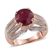 Niassa Ruby, White Topaz 14K RG Over Sterling Silver Ring (Size 6.0) TGW 8.510 cts.