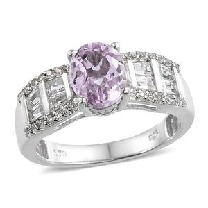 Kunzite, White Topaz Platinum Over Sterling Silver Ring (Size 6.0) TGW 3.400 cts.