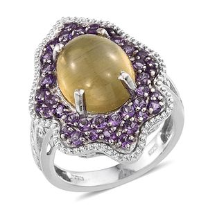Cats Eye Apatite, Amethyst Platinum Over Sterling Silver Ring (Size 7.0) TGW 10.710 cts.