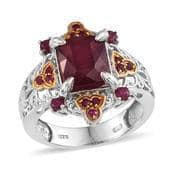 Niassa Ruby, Ruby 14K YG and Platinum Over Sterling Silver Ring (Size 7.0) TGW 7.80 cts.