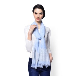 J Francis - Blue Pastel 70% Viscose and 30% Polyester Embroidered Scarf (71x28 in)
