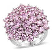 J Francis - Platinum Over Sterling Silver Cluster Ring Made with Pink SWAROVSKI ZIRCONIA (Size 9.0) TGW 20.47 cts.