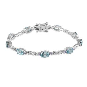 Cambodian Blue Zircon, Tanzanite Platinum Over Sterling Silver Bracelet (7.50 In) TGW 12.070 cts.