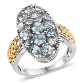 Cambodian Blue Zircon, White Zircon 14K YG and Platinum Over Sterling Silver Ring (Size 7.0) TGW 5.07 cts.