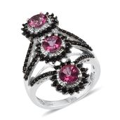Pure Pink Mystic Topaz, Thai Black Spinel Platinum Over Sterling Silver Ring (Size 7.0) TGW 4.500 cts.